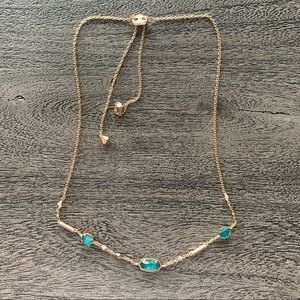 Kendra Scott rose gold with emerald gems necklace